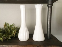 Set of Two Mixed Matched Milk Glass Vases