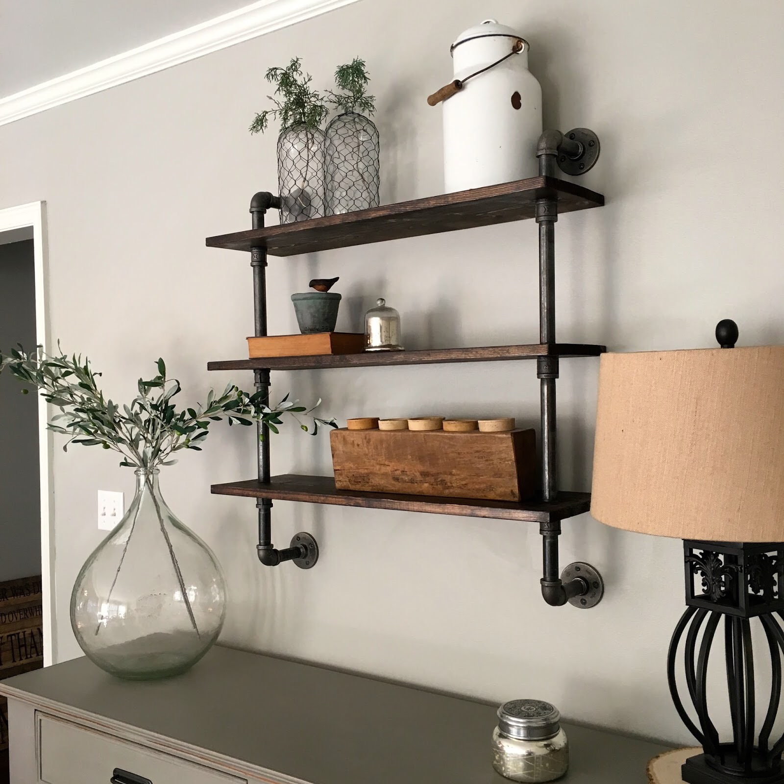 diy pipe shelving mindfully gray. Black Bedroom Furniture Sets. Home Design Ideas